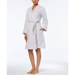 Charter Club Short Textured Robe Winter Ivory Rose